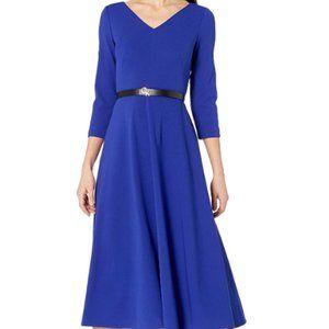 Women's quarter sleeve waistband mid length V-neck